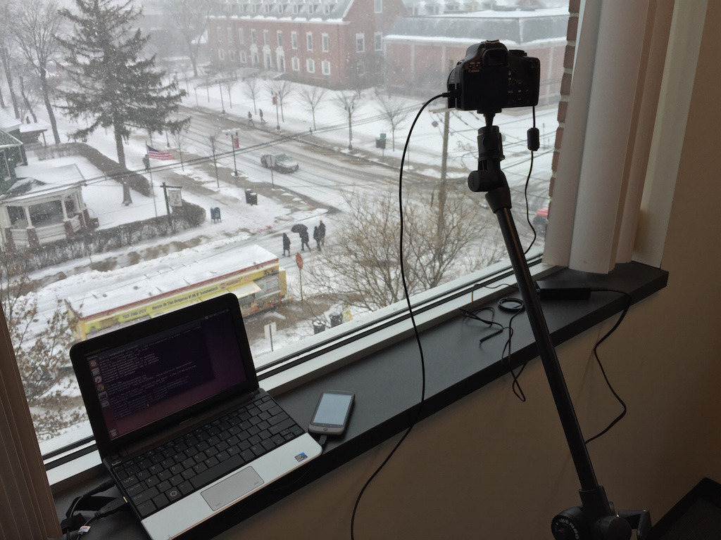 The impromptu setup of the SCC SnowCam.